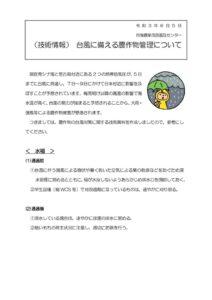01+【技術情報】台風に備える農作物管理についてのサムネイル